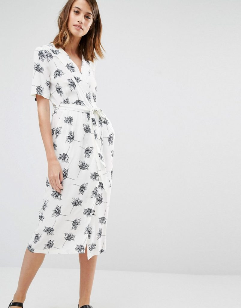 Warehouse Stencil Floral Wrap Midi Dress £55.00 Click to visit ASOS