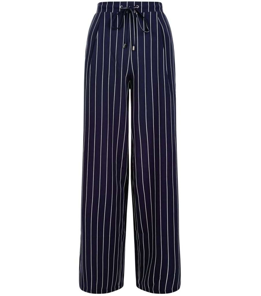 Navy Stripe Wide Leg Trousers £24.99 Click to visit New Look