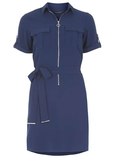 Blue zip front shirt dress Price: £32.00 Click to visit Dorothy Perkins
