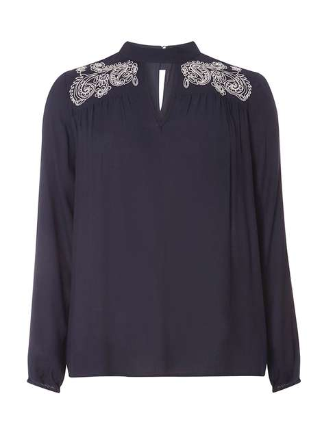 Navy Tab Neck Embroidered Blouse Price: £24.00 Click to visit Dorothy Perkins