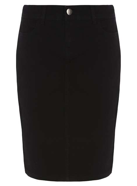 Black Denim Pencil Skirt Was £15.00 Was £8.00 Now £6.80 Click to visit Dorothy Perkins
