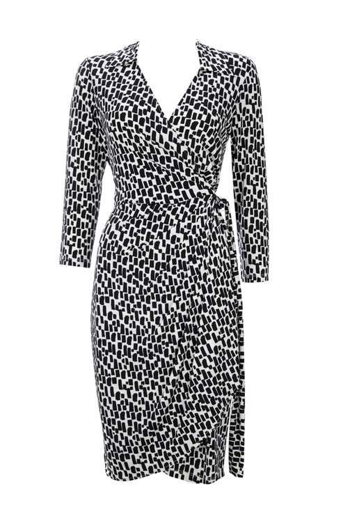 Monochrome 3/4 Sleeve Wrap Dress Price: £45.00 Click to visit Wallis