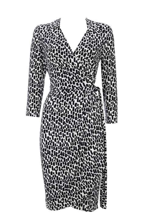 Monochrome 3/4 Sleeve Wrap Dress Price: £45.00 Click to visit Wallis