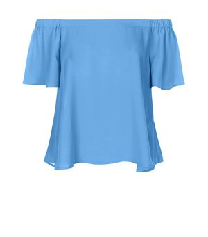 Blue Bardot Neck Frill Sleeve Top £12.99 Click to visit New Look