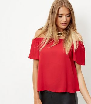 Dark Red Bardot Neck Frill Sleeve Top £12.99 Click to visit New Look