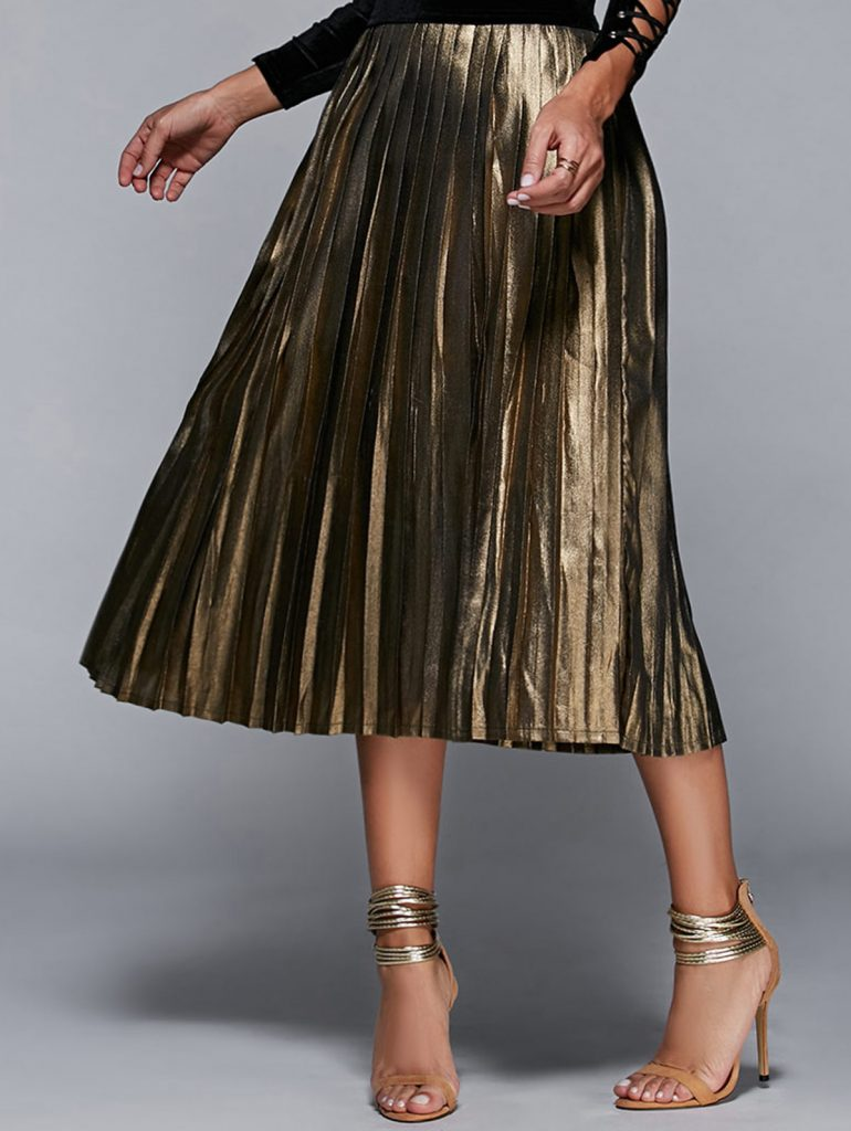 High Waisted Pleated Midi Skirt £17.45 Click to visit Zaful