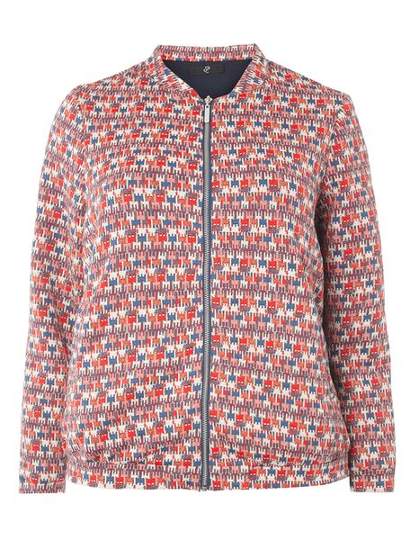 Red Patterned Bomber Jacket £45.00 Click to visit Evans