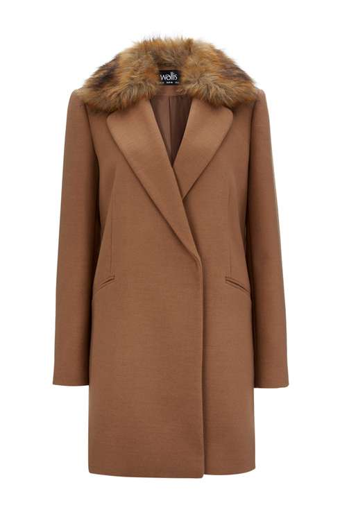 Rust Fur Collar Coat Price: £65.00 Click to visit Wallis