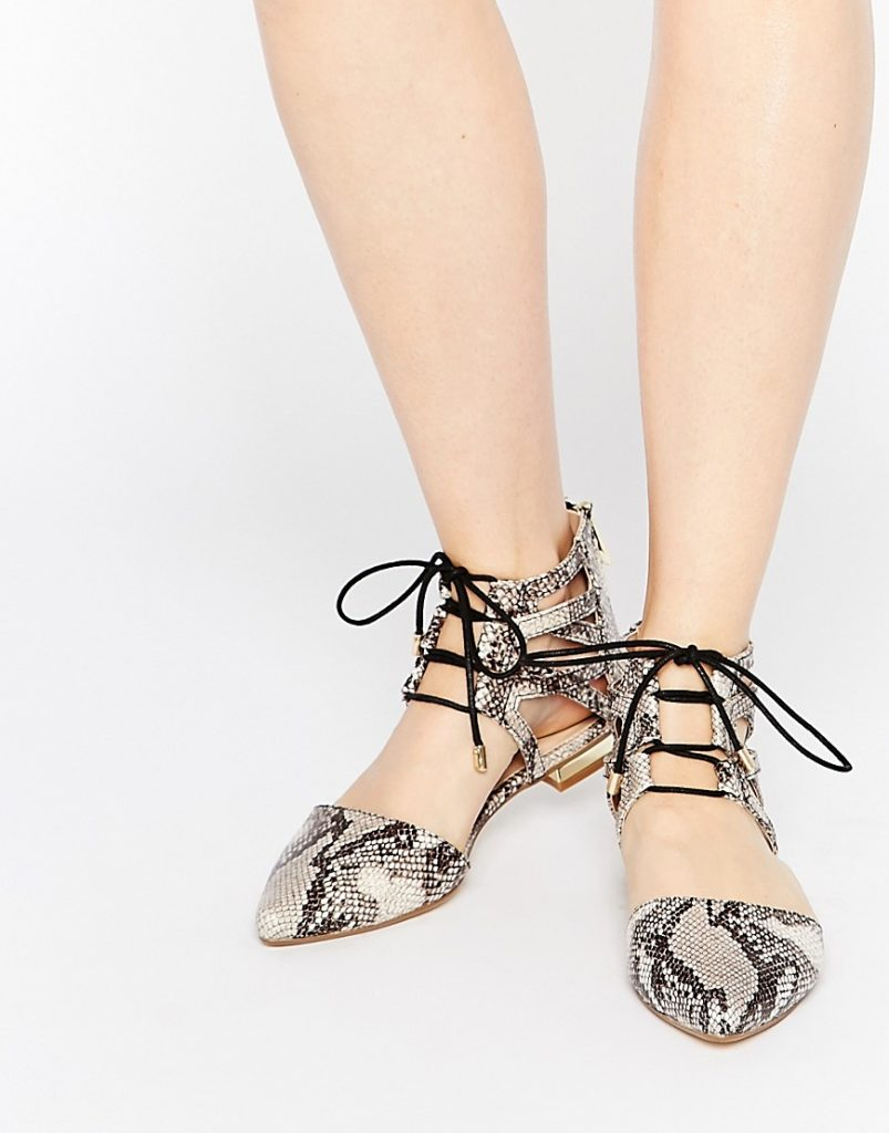 River Island Lace Up Snake Print Ankle Flats now £15.00 Click to visit ASOS