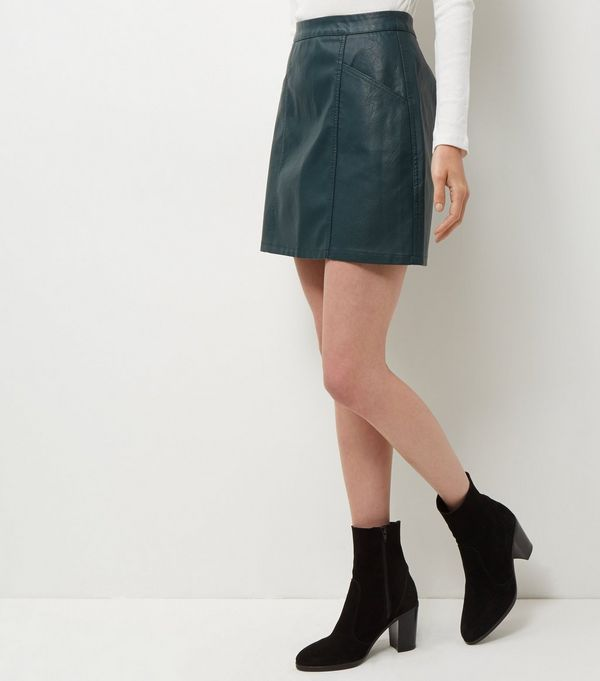 Dark Green Leather-Look Seam Trim Mini Skirt £17.99 Click to visit New Look