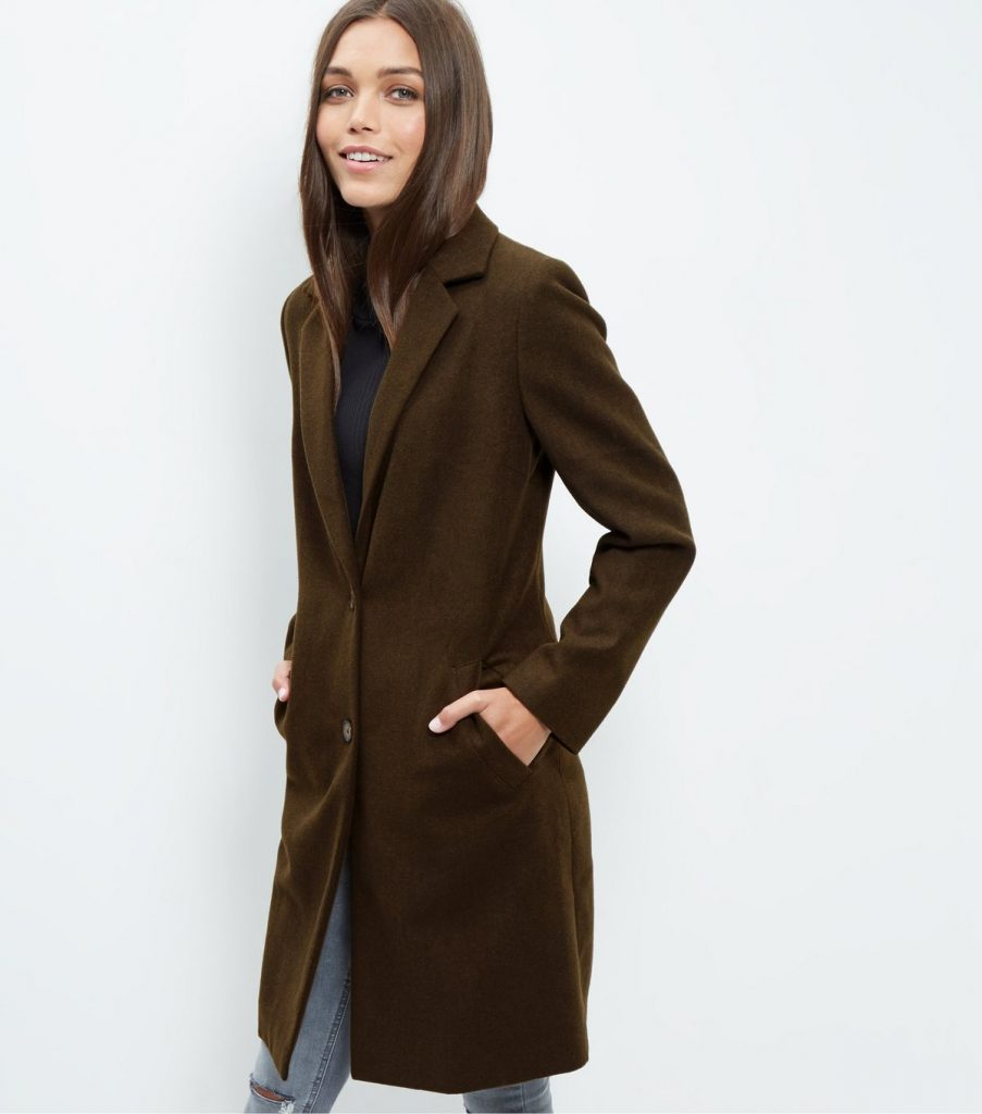 Khaki Boyfriend Coat £34.99 Click to visit New Look