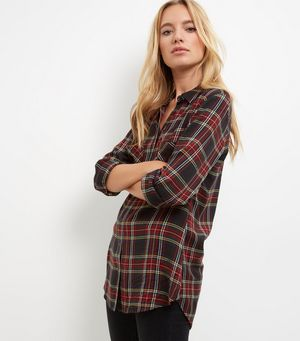 Black Tartan Check Double Pocket Long Sleeve Shirt £14.99 Click to visit New Look