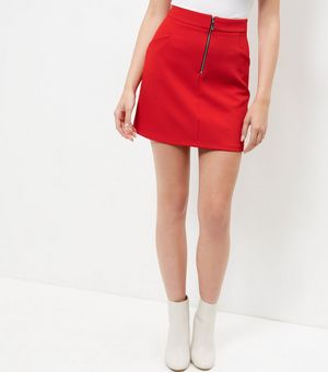 Red Crepe Zip Front A-Line Skirt £14.99 Click to visit New Look