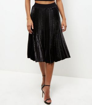 Black Sateen Pleated Midi Skirt £24.99 Click to visit New Look