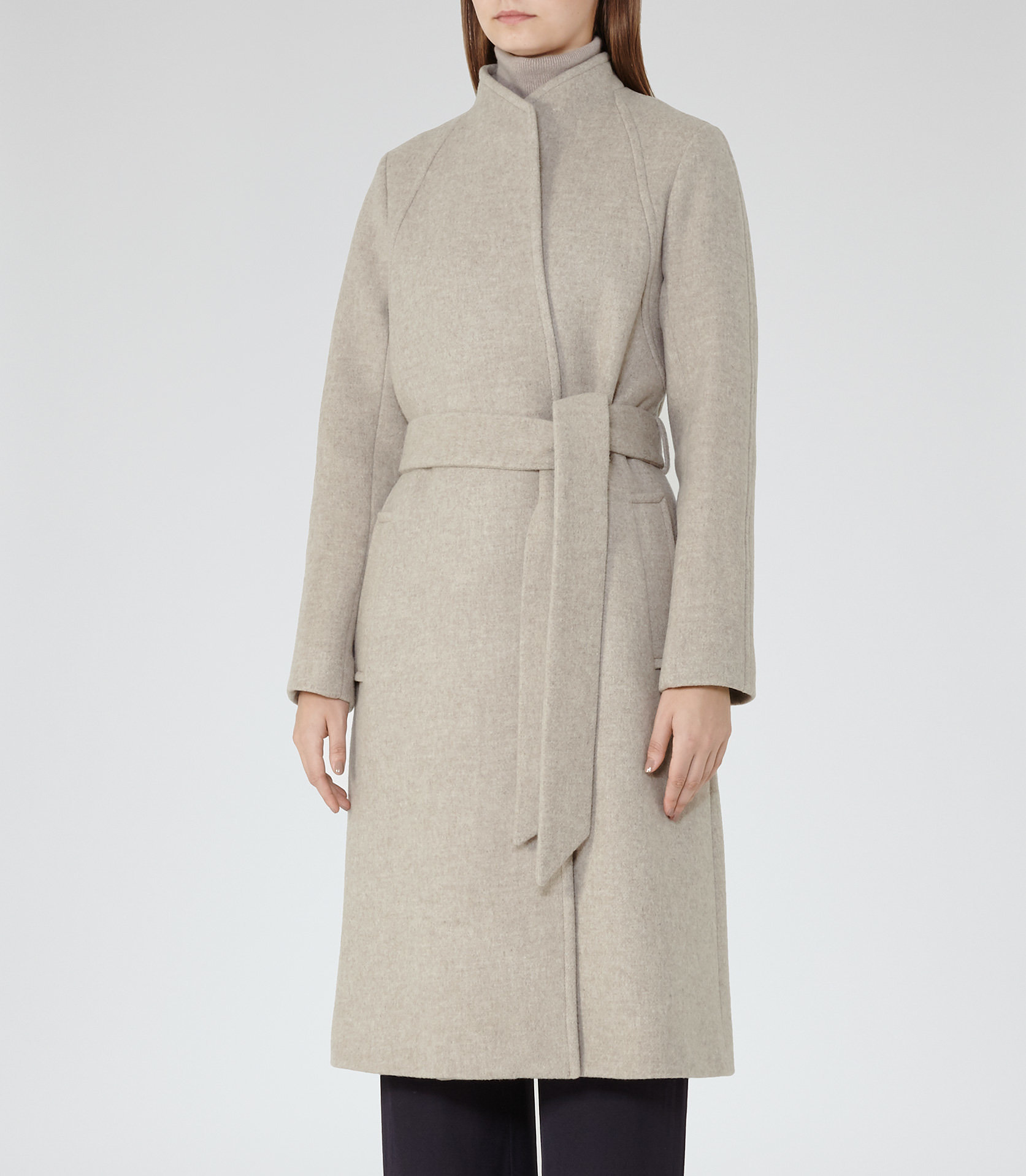 ELIAS COLLARLESS COAT Oatmeal £350 Click to visit Reiss