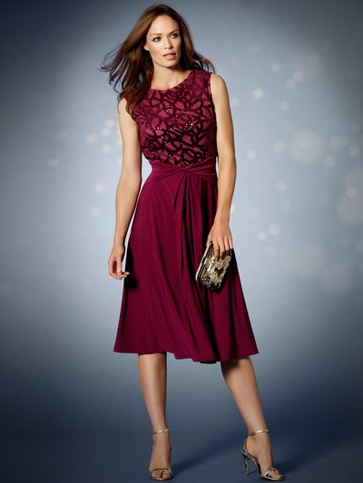 Sequin lace top midi dress £55.00 Click to visit M&Co