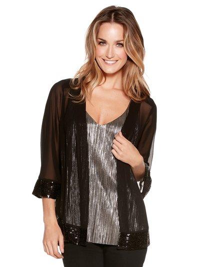 Sequin trim chiffon kimono Details http://www.mandco.com/sequin-trim-chiffon-kimono-black/1012983.html Product Number: 1012983 Colour: BLACK £29.00 Click to visit M&Co