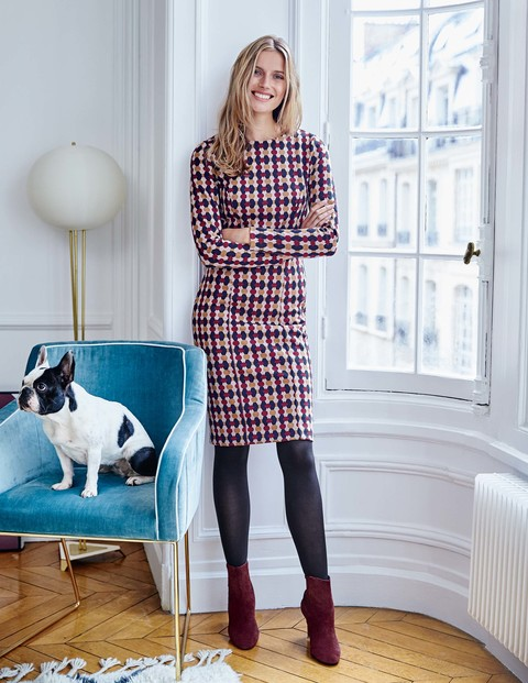 Priscilla Jacquard Dress Was £89.50 Now £71.60 Click to visit Boden