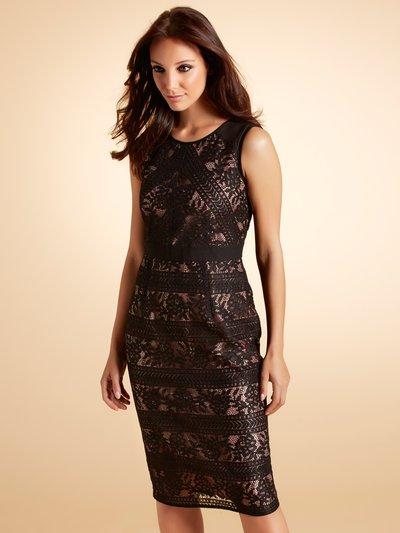 Black lace panelled dress Details http://www.mandco.com/black-lace-panelled-dress-black/1701886.html Product Number: 1701886 Colour: BLACK Boutique Collection £79.00