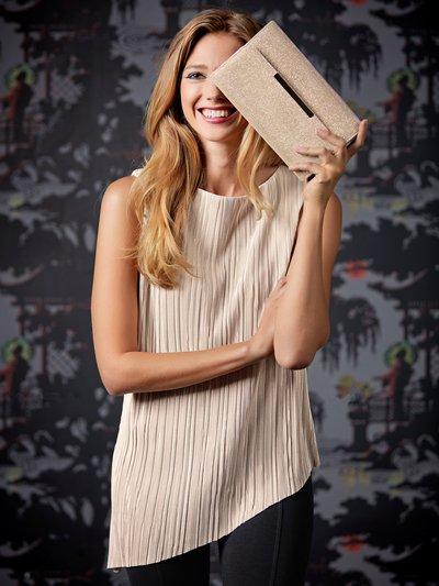 Petite asymmetric plisse top £24 Click to visit M&Co