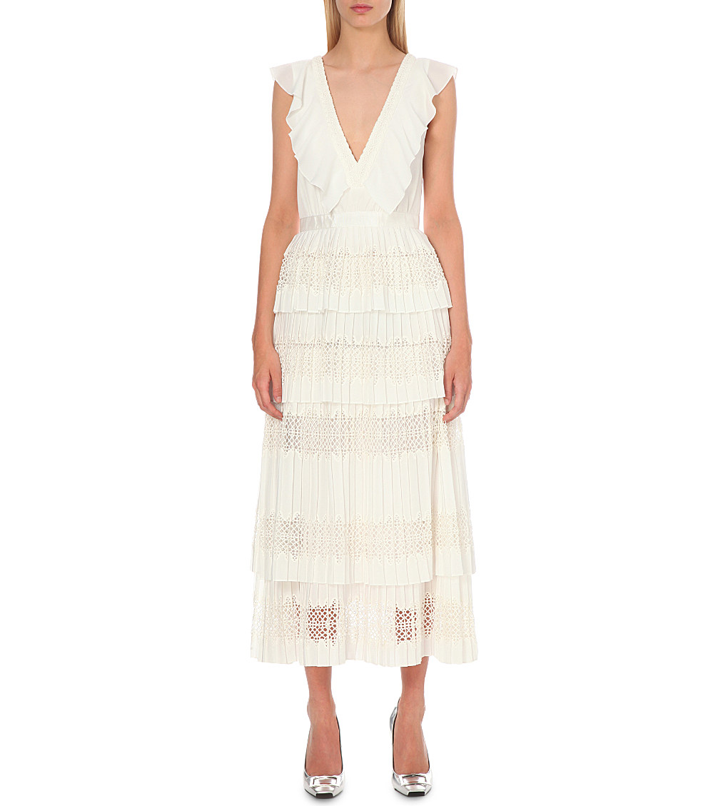 SELF-PORTRAIT Victoria flounced tiered lace dress £300.00 Click to visit Selfridges