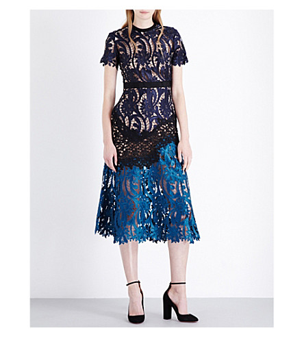 SELF-PORTRAIT Prairie floral-embroidered midi dress £300.00 Click to visit Selfridges