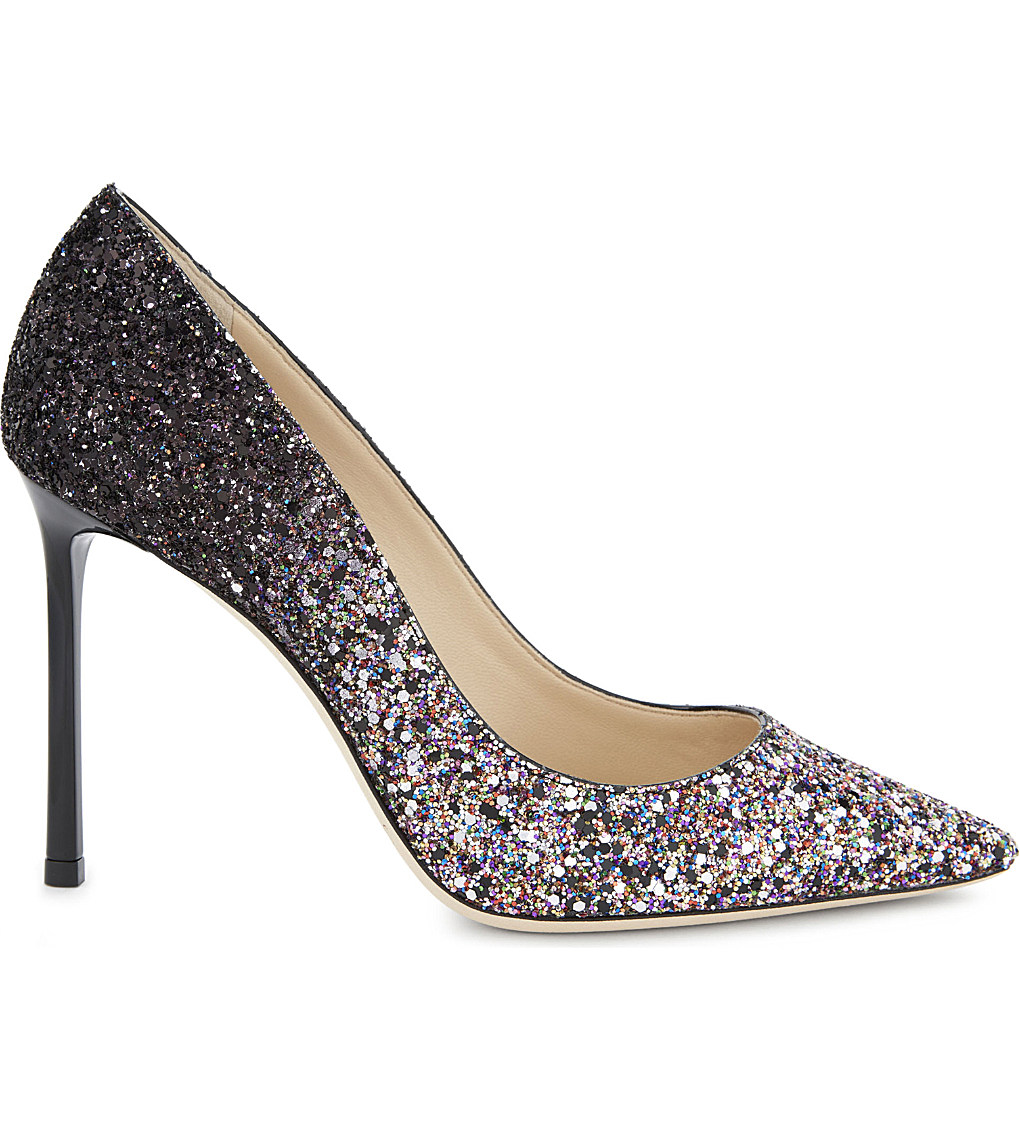 JIMMY CHOO Romy 100 coarse glitter courts £450.00 Click to visit Selfridges