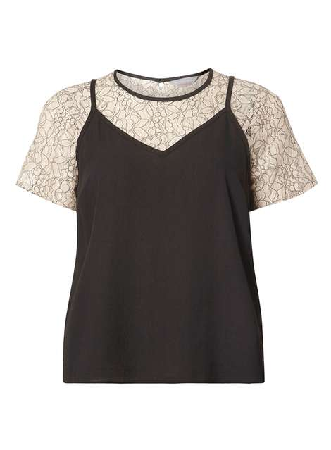 **Petite Black Lace 2-In-1 Top Was £28.00 Now £21.00 Click to visit Dorothy Perkins