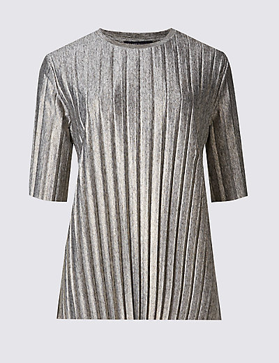 Foil Pleated Jersey Top T412180 £25.00 Click to visit M&S