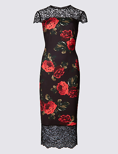 M&S COLLECTION New Rose Print Bodycon Dress £49.50 Click to visit M&S