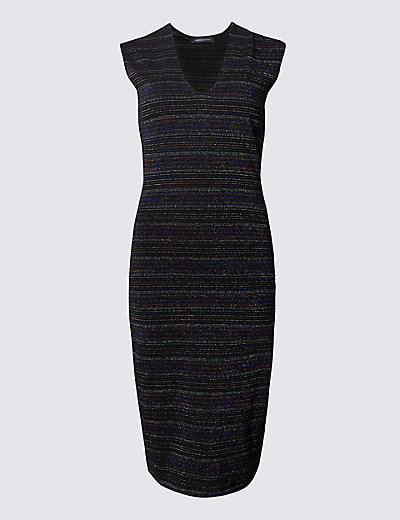 LIMITED EDITION New Cotton Rich Striped Lurex Bodycon Dress £29.50 Click to visit M&S