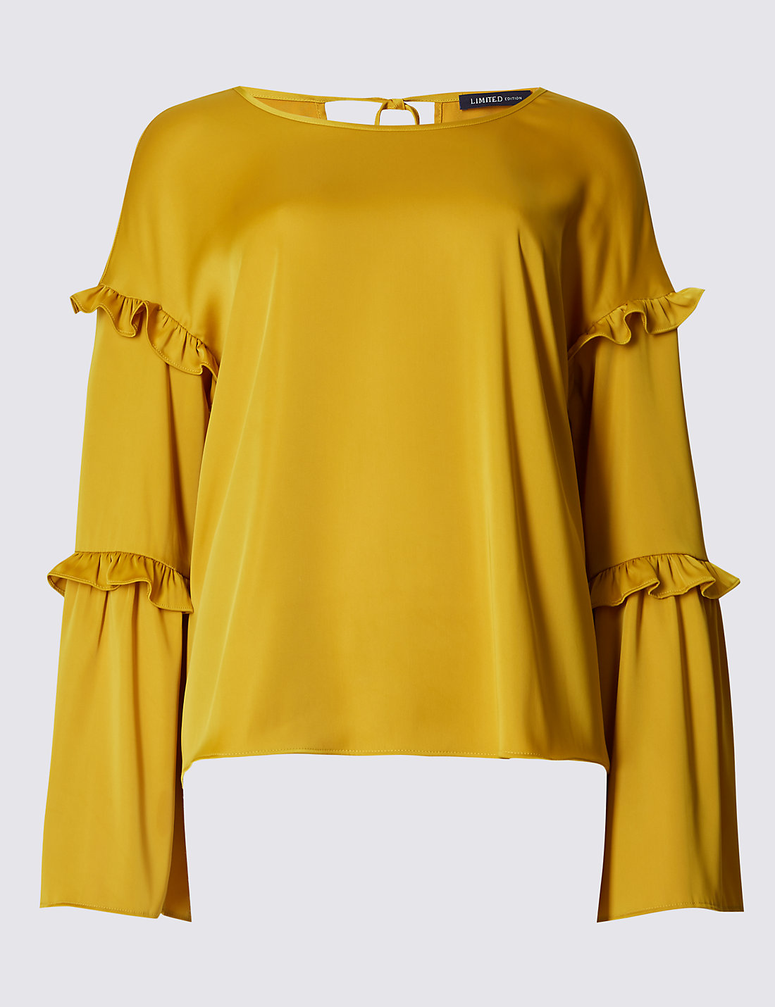 LIMITED EDITION New Satin Ruffle Long Sleeve Shell Top £35 Click to visit M&S