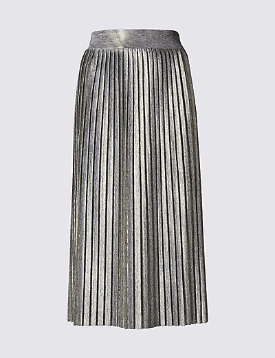 LIMITED EDITION New Metallic Pleated Skirt £35 Click to visit M&S