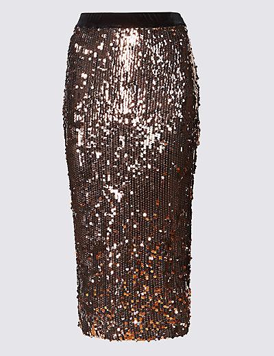 PER UNA New Sequin Midi Pencil Skirt £49.50 Click to visit M&S