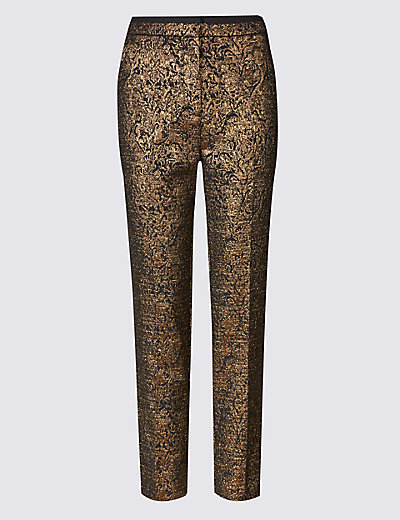 PER UNA New Gold Jacquard Print Tapered Leg Trousers £45 Click to visit M&S