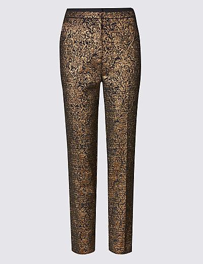PER UNA New Gold Jacquard Print Tapered Leg Trousers £45 Click to visit M&S
