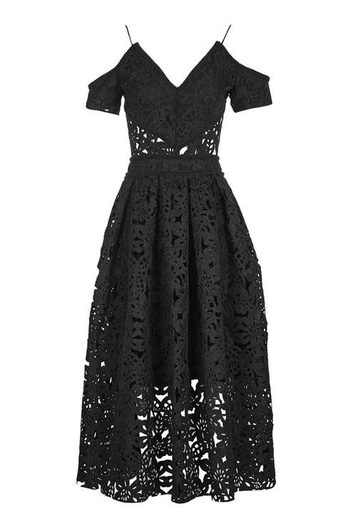Laser Cut Bardot Prom Dress £150.00 Click to visit Topshop