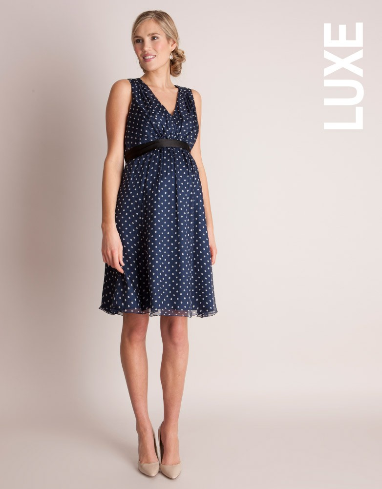 Navy Polka Dot Silk Maternity Dress £129.00 Click to visit Seraphine