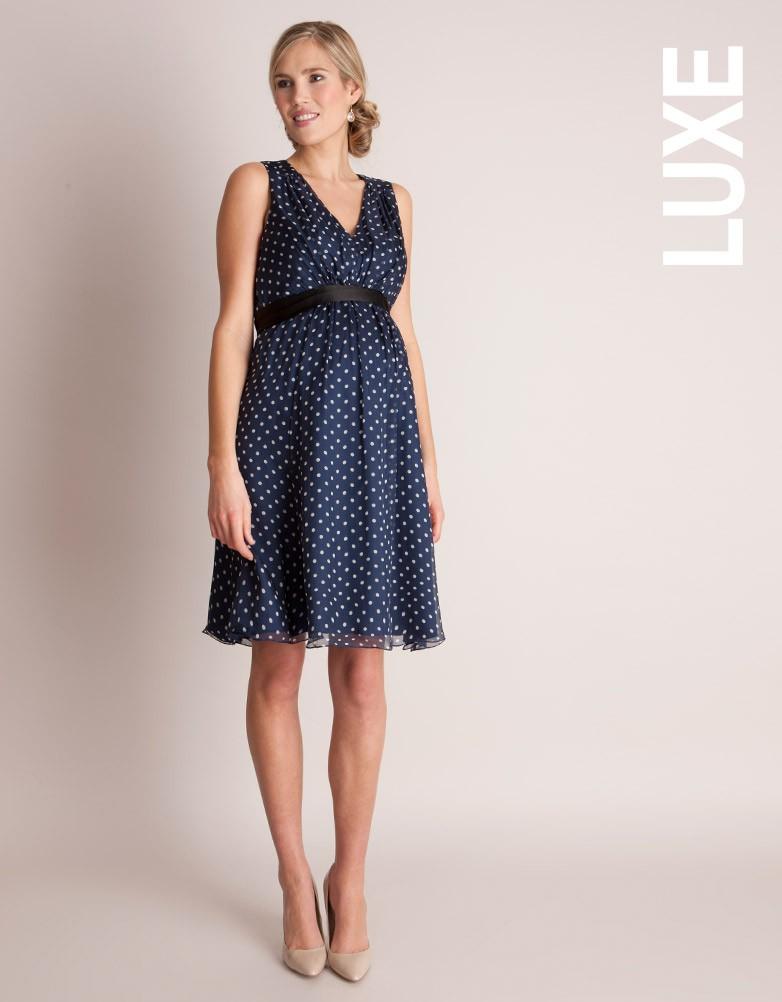 Navy Polka Dot Silk Maternity Dress £129.00 Click to visit Seraphine