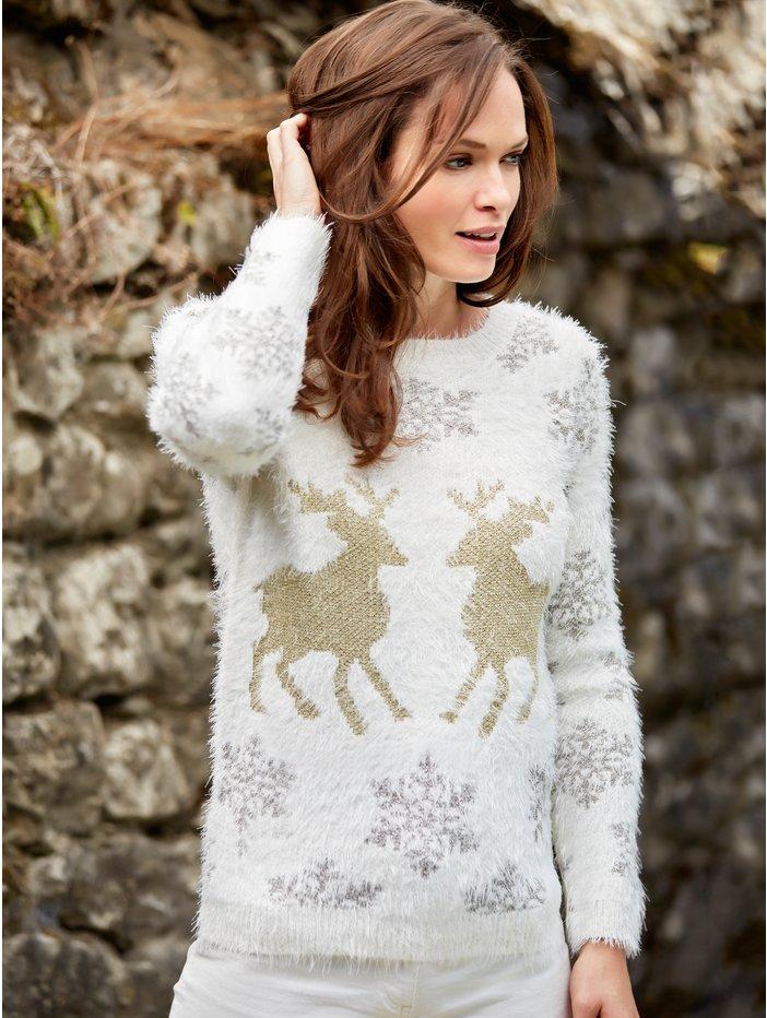Snowflake reindeer jumper £29 Click to visit M&Co