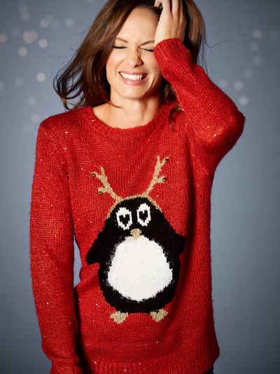 Reindeer penguin Christmas Jumper £29 Click to visit M&Co