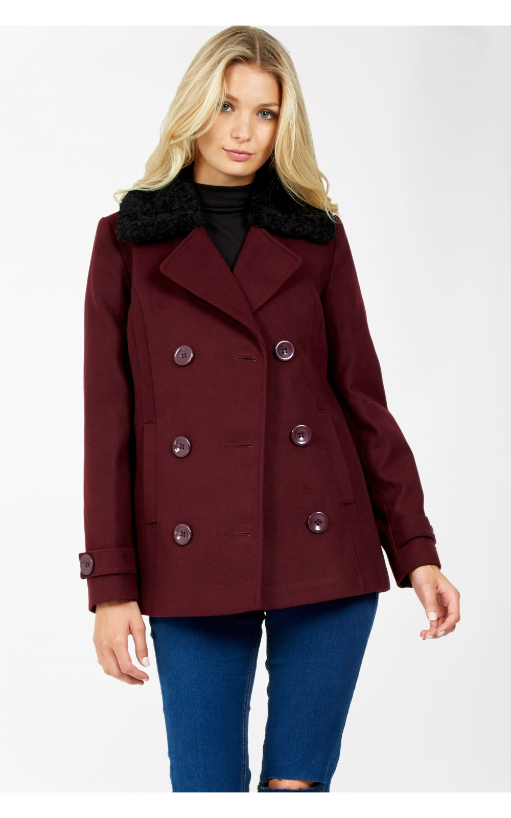 FORMAL PEA COAT Code: #S044/0302/005_BERRY £39.99 now £24.99 Click to visit Select