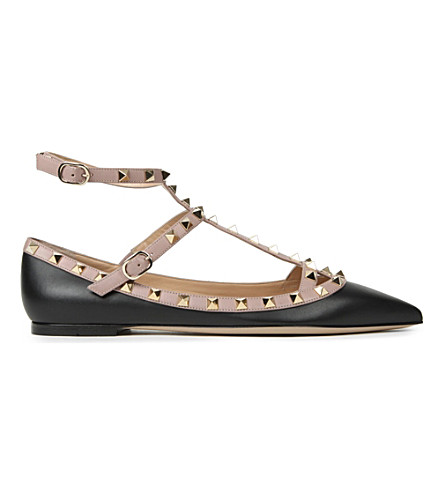 VALENTINO Rockstud leather ballet flats £585.00 Click to visit Selfridges
