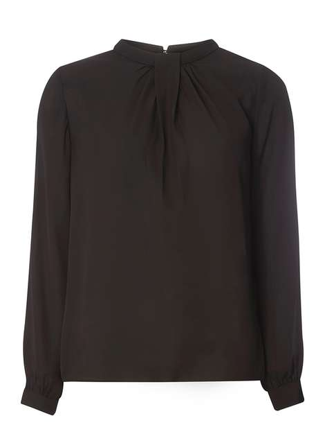 Black Pleat Neck Blouse Was £22.00 Now £15.40 Click to visit Dorothy Perkins