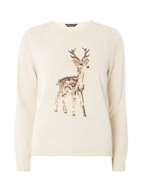 Oat Sequin Reindeer Jumper Was £28.00 Now £25.20 Click to visit Dorothy Perkins