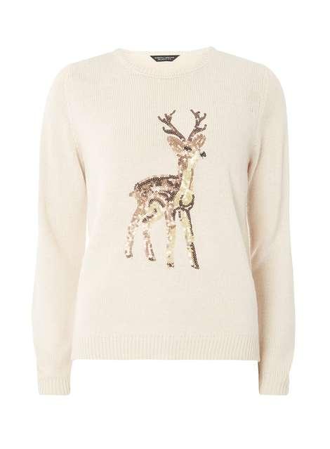Oat Sequin Reindeer Jumper Was £28.00 Now £25.20 Click to visit Dorothy Perkins