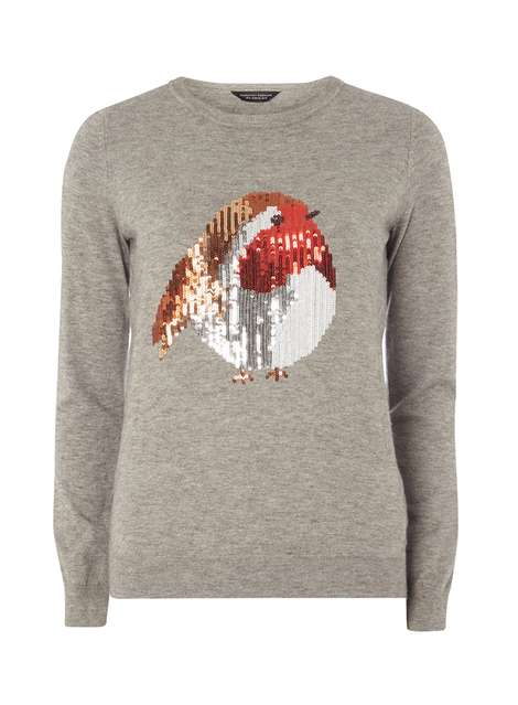 Grey Sequin Robin Jumper Was £26.00 Now £23.40 Click to visit Dorothy Perkins