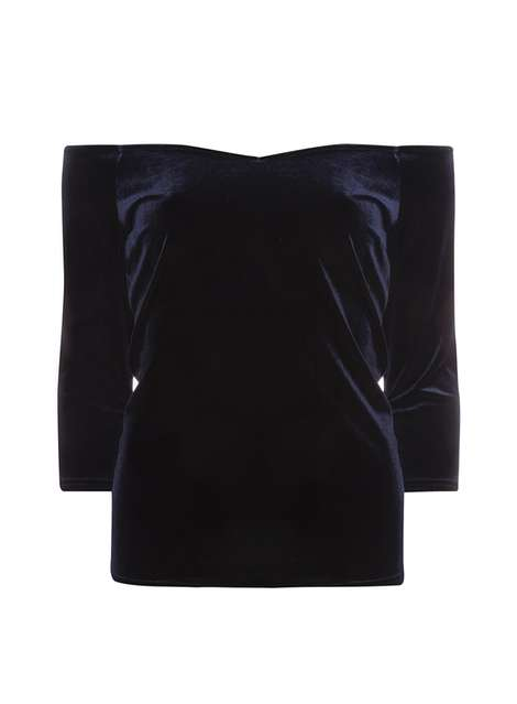 Navy Velour Bardot Top Was £16.00 Now £12.80 Click to visit Dorothy Perkins