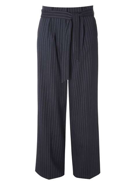 Navy Pinstriped Wide Leg Trousers Was £28.00 Now £19.60 Click to visit Dorothy Perkins