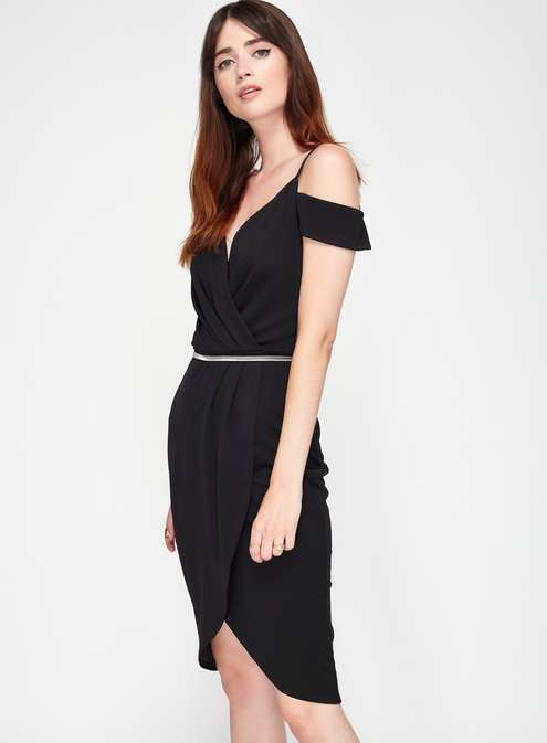 Black Wrap Cold Shoulder Dress Was £39.00 Now £27.30Click to visit Miss Selfridge